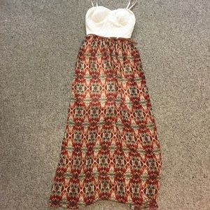 Tribal and lace maxi dress